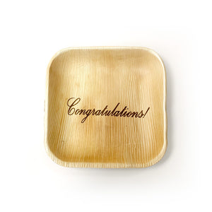"6"" Congratulations Square Palm Leaf Plates (100 count)"