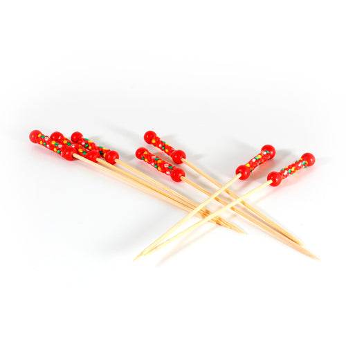 BP-1 Bamboo Red Beads Pick (4800 count/case)