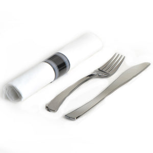 EMI-GWFKN Glimmerware Fork/Knife Rolled Cutlery Kit - Silver