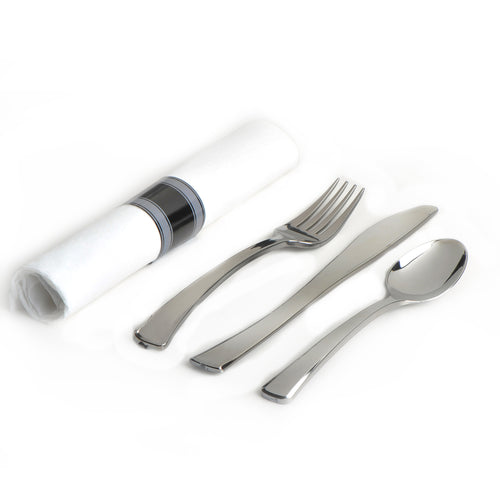 EMI-GWFKSN Glimmerware Fork/Knife/Spoon Rolled Cutlery Kit - Silver