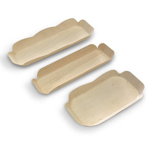 "7"" x 4"" Oblong Poplar Wood Tray  (200 count/case)"