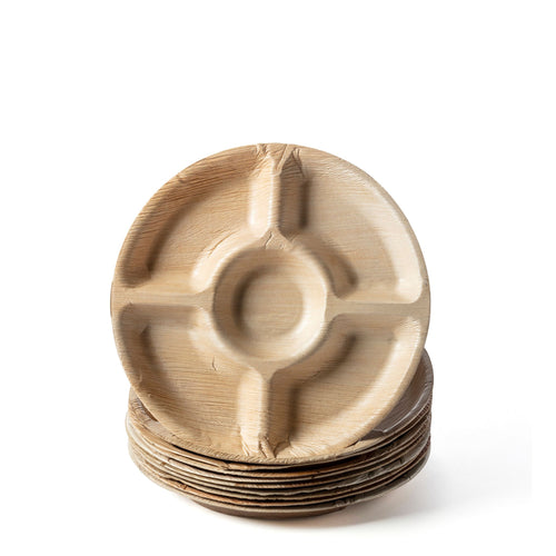 Palm Leaf Round 5 Compartment Plates, this is for finger foods and many more.