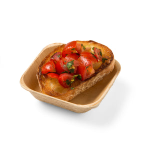 "3.5"" Square Single Bite, Sauce Disposable Leaf Bowl for fruits, olives, seafoods"
