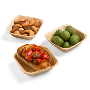 Square Palm Leaf Bowl for fruits, olives, seafoods