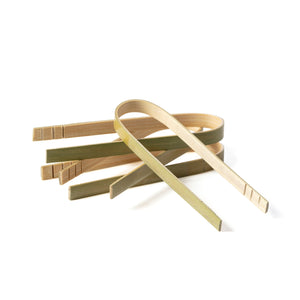 Bamboo tongs for catering events and parties. Used for getting food using bamboo materials for flipping grilled food.