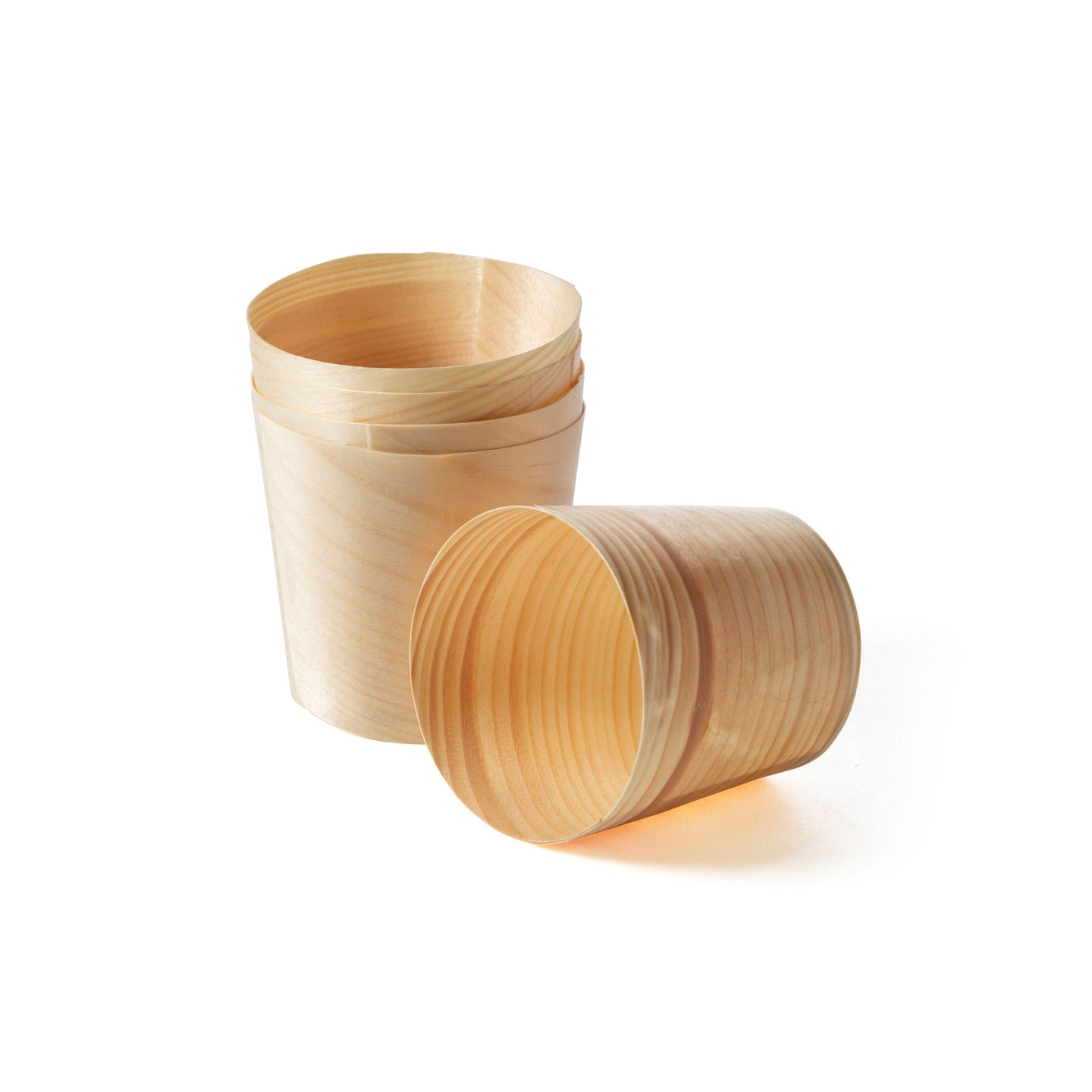 Lightweight and durable disposable wooden pine cups can hold most liquids hot or cold.