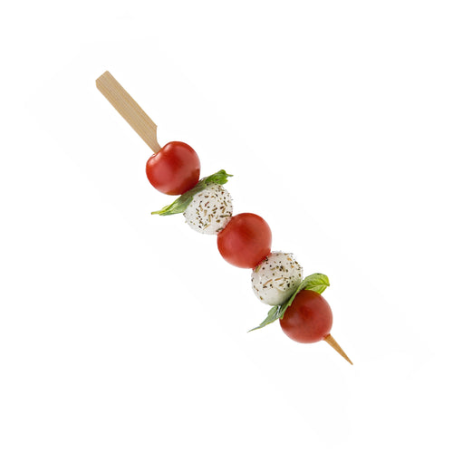 Easy to pick bamboo paddle skewers for seafoods, meats, olives, berries and many more.
