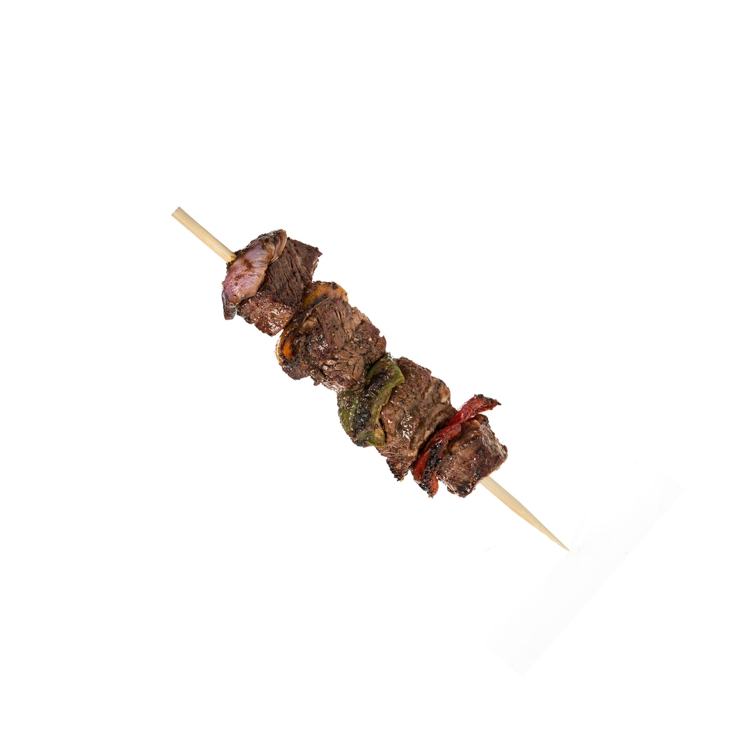 wooden bamboo skewer for barbeque and different kinds of meat. Perfect for outdoor parties and event celebrations.