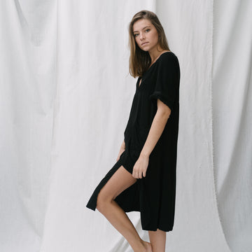 Deep V Pocket Dress - Black