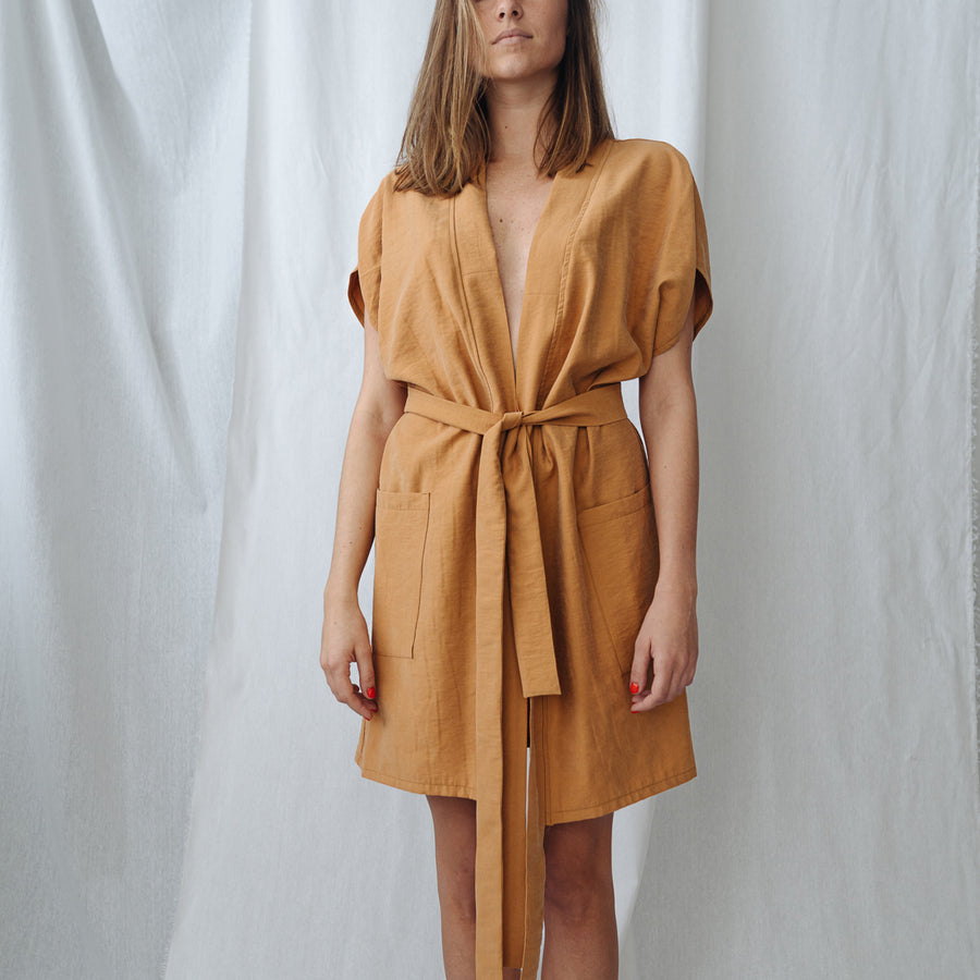 Wrap Up Vest Dress - ochre yellow