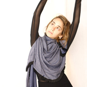 Light Fringe Scarf -  Smoky Indigo & Black