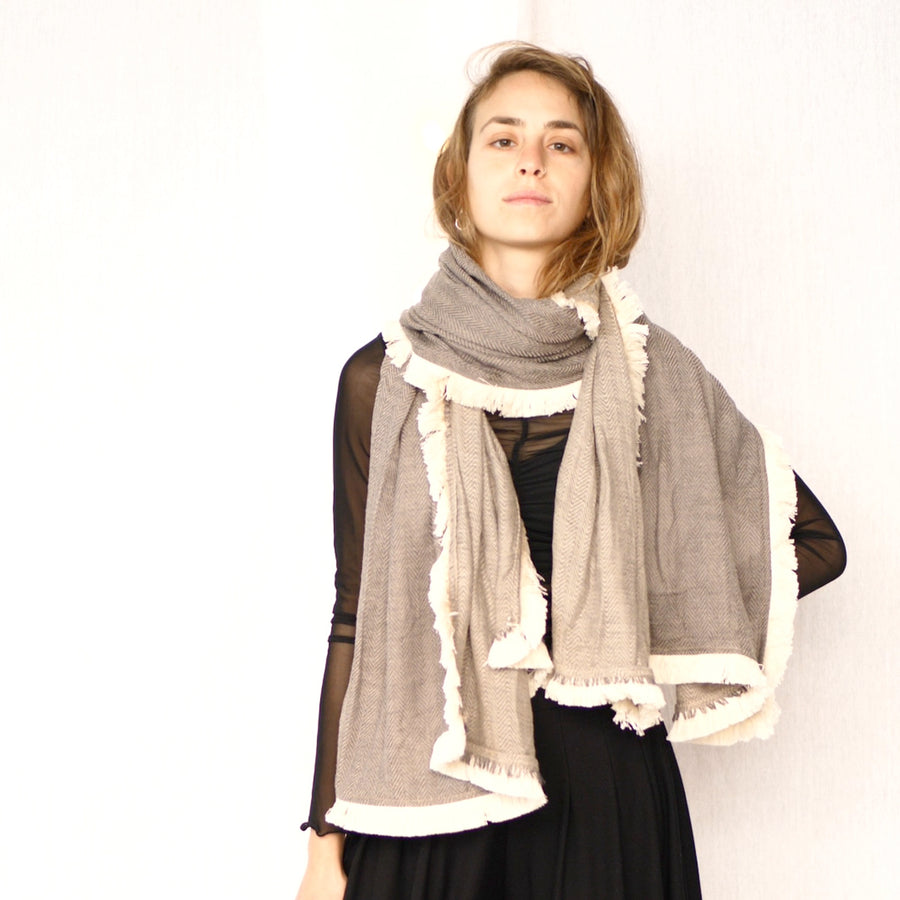 Light Fringe Scarf -  Stone & Cream