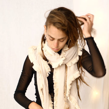 Light Fringe Scarf -  Cream & Cream