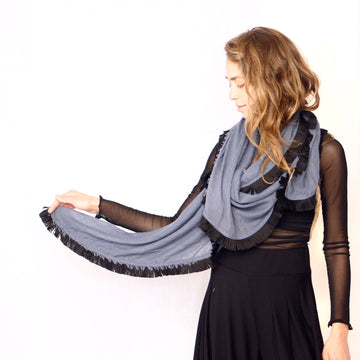Huge Fringed Scarf - Denim blue