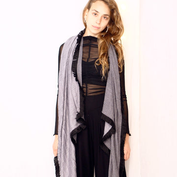Light Fringe Scarf -  Ice Grey & Black