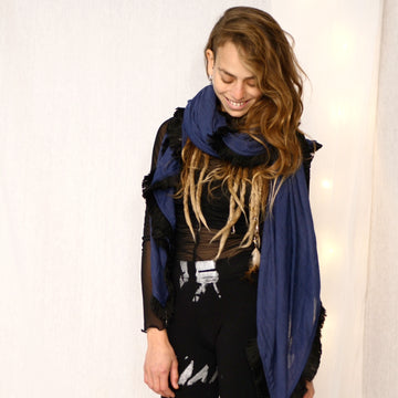 Huge Fringed Scarf - Navy