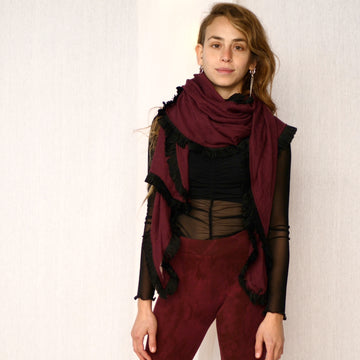 Light Fringe Scarf - Maroon