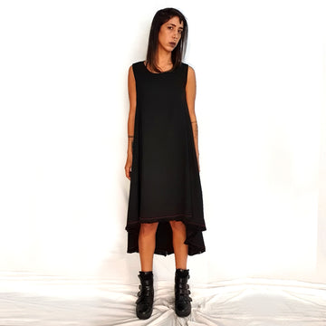 Good Fit Dress - Black with red embroidery