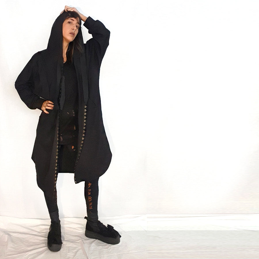 Hooded Cardigan With Hooks - Black
