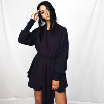 asymmetrical cardigan - navy blue