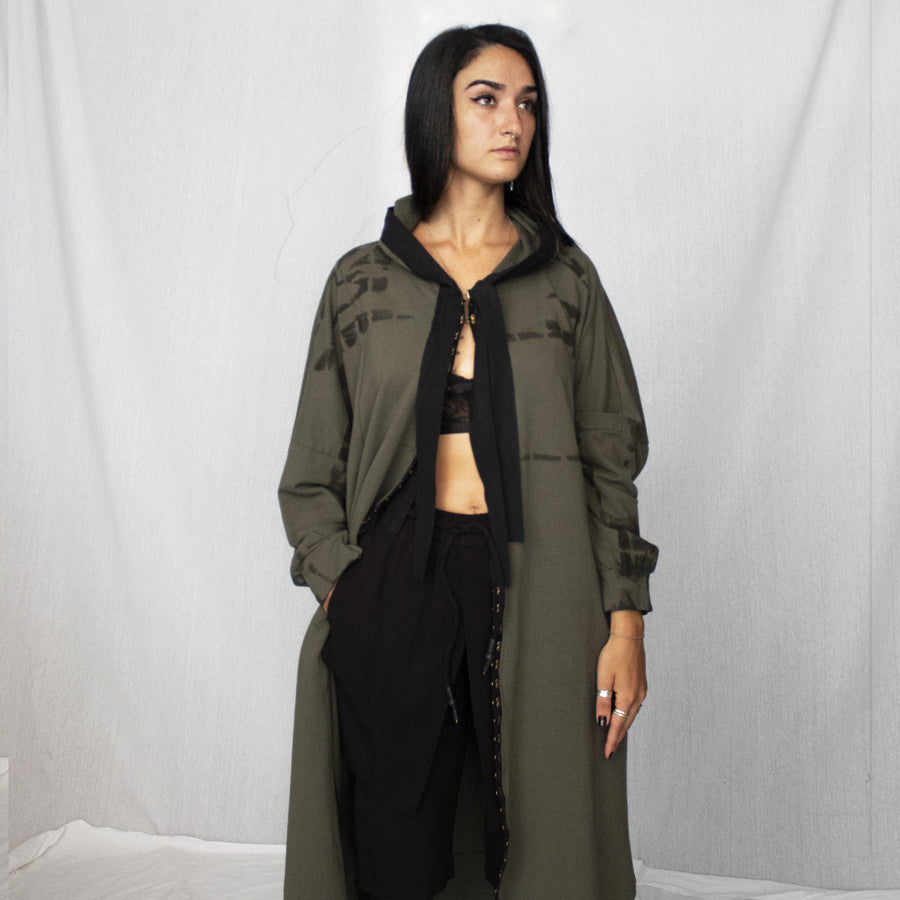 Hooded Cardigan With Hooks - Olive