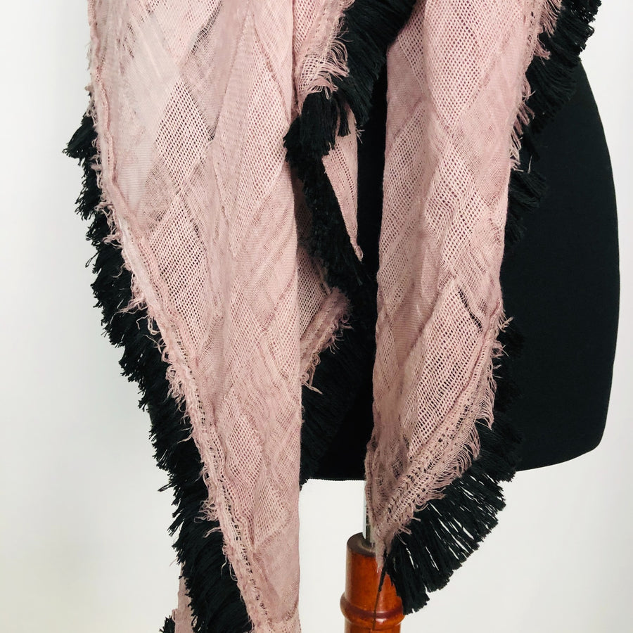 square Fringed Scarf - blush