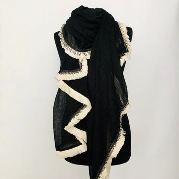 Light Fringe Scarf - Black & Cream
