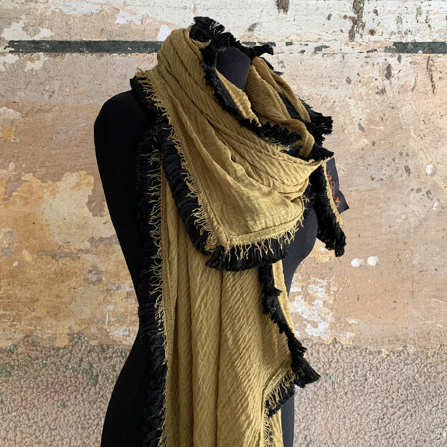 Light Fringe Scarf - Mustard