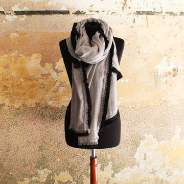 Huge Fringed Scarf - Light Grey