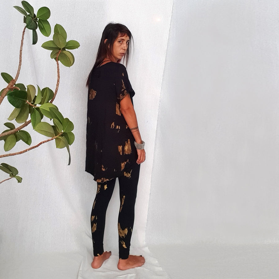 Yoga Leggings - Gold & Black