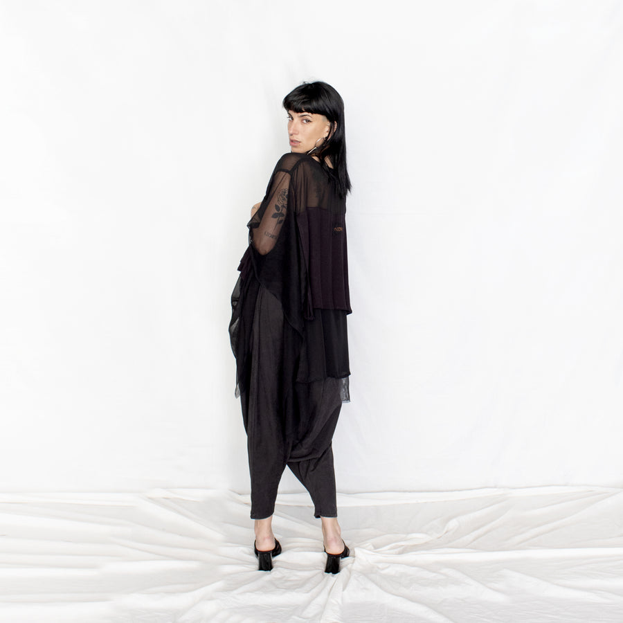 Black Layered Transparent Tunic
