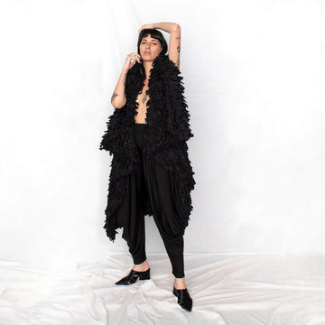 Huge Black Fringe Vest