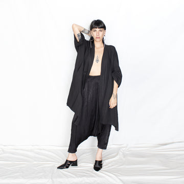Silky Loose Black Harem Pants