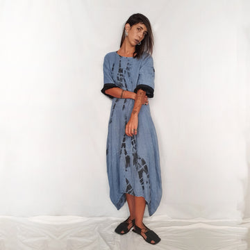 Handmade Printed Linen Dress - Blue