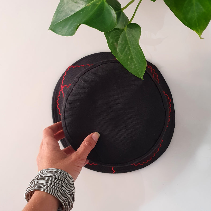 Embroidery Bucket Hat - Black & Red