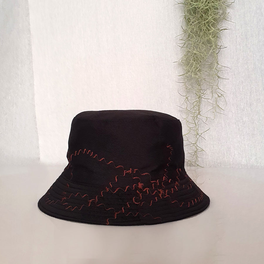 Embroidery Bucket Hat - Black & Brown