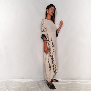 Handmade Printed Linen Dress - Cream