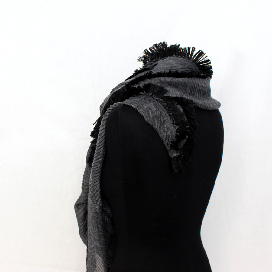Huge Fringed Scarf - Dark Grey