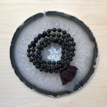 Large Lava Beads Mala - Black & Brown