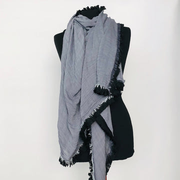 Light Fringe Scarf - baby blue strips