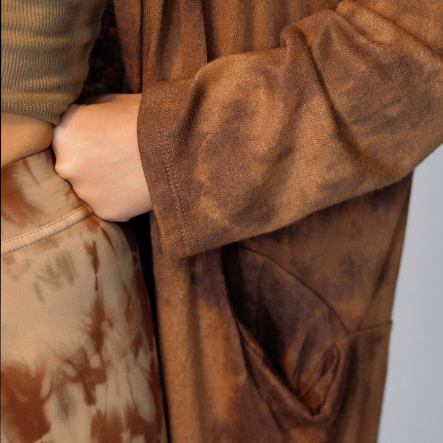 Knitted Dyed Cardigan - Caramel Shades
