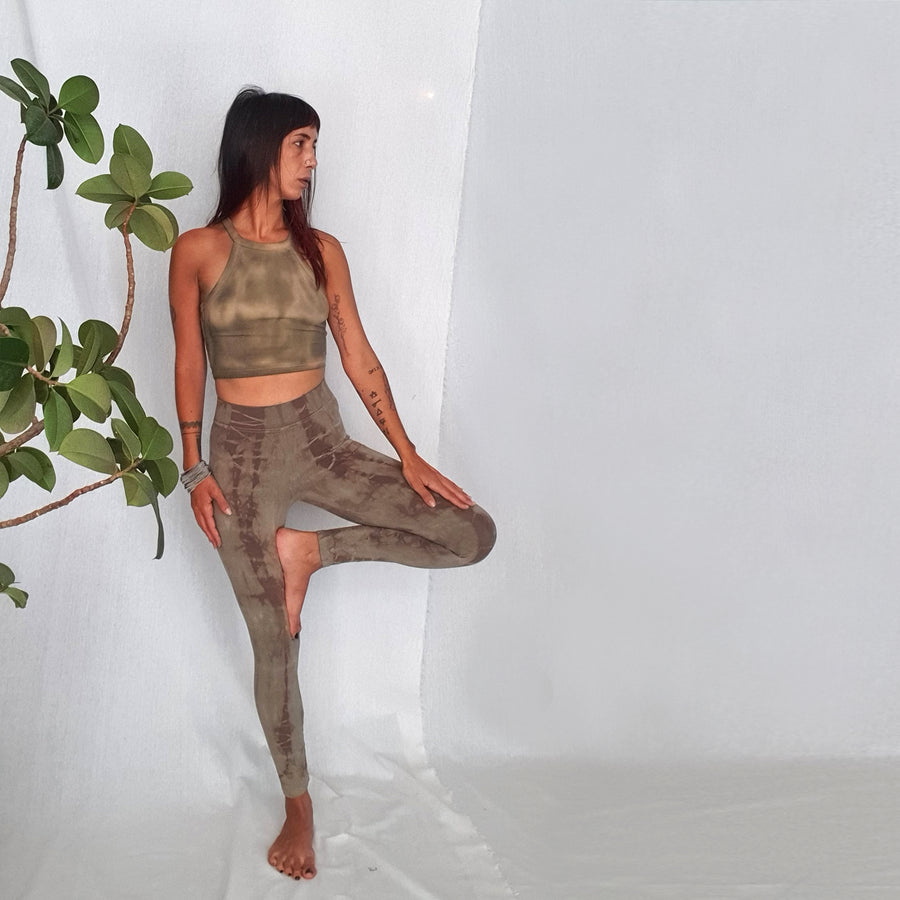 Tie Dye Yoga Leggings - olive shades