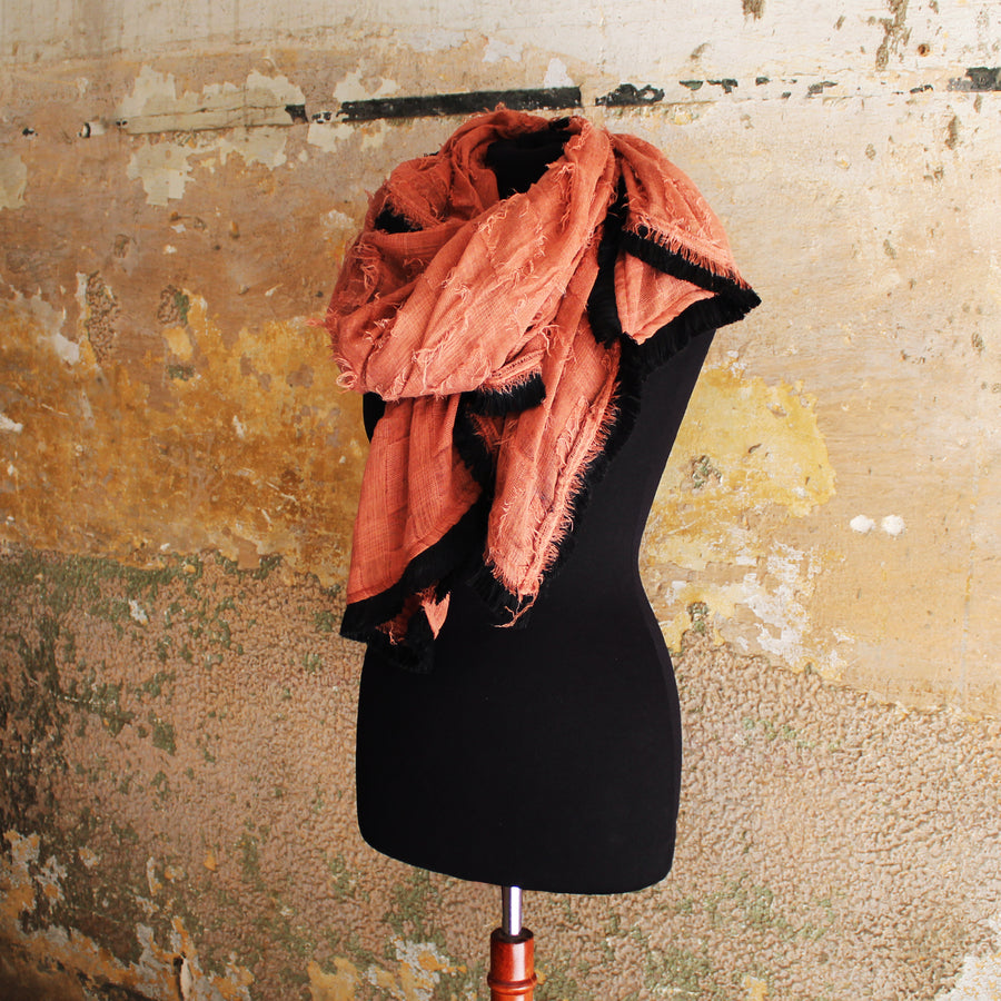 square Fringed Scarf - peach