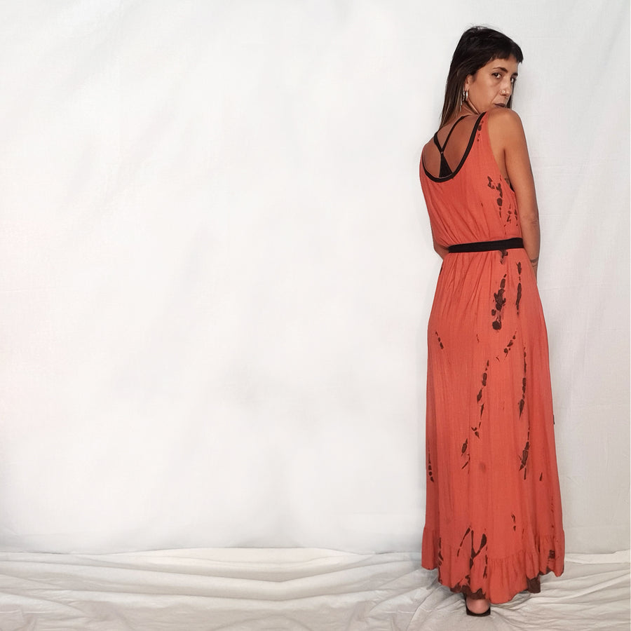 Vest Dress With Ruffles - Salmon Pink