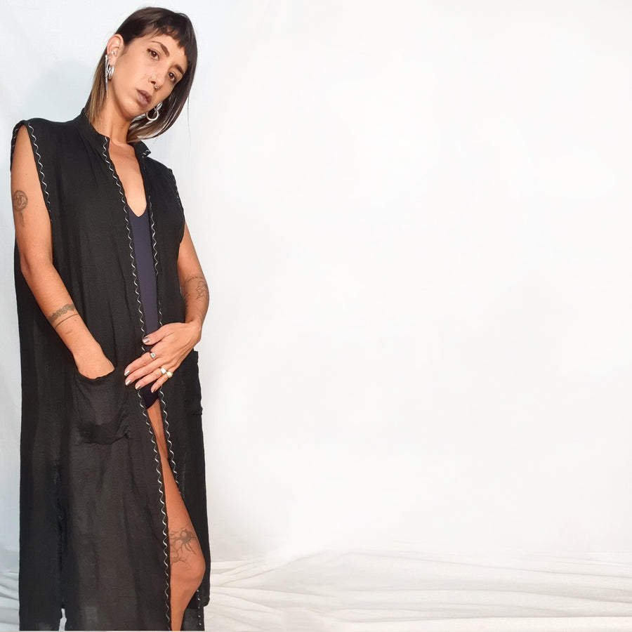 Embroidered Black Linen Vest - white