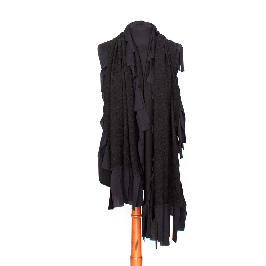Black Textured Fringed Scarf