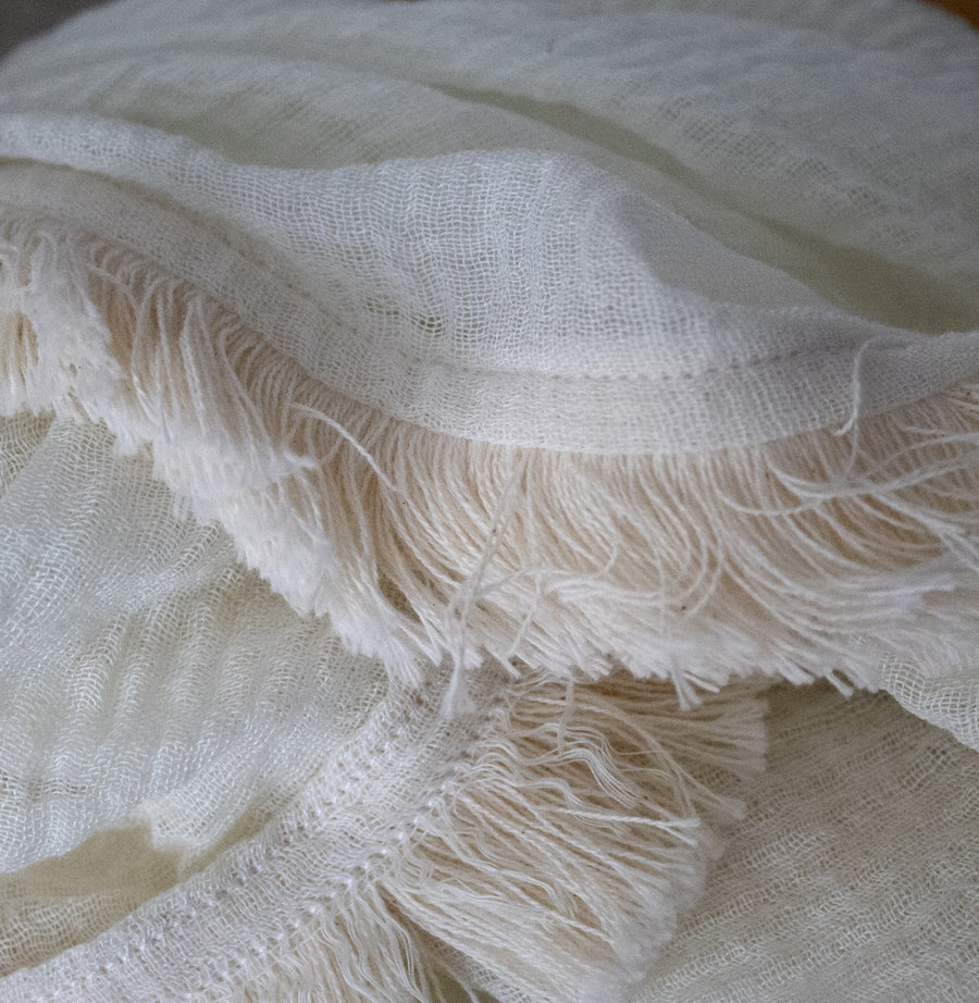 Light Fringe Scarf - cream