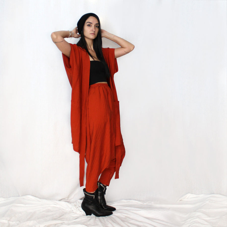 Loose Harem Pants -Papaya orange