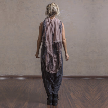 Huge Fringed Scarf - Dark Beige