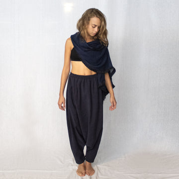 Loose Harem Pants - Navy
